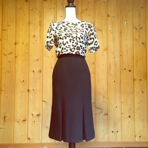 Vintage Prophecy Black Wool Pleated Midi Skirt